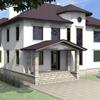 В проекте фасада применены архитектурные элементы: Сандрик С-009 Наличник М-023 Подкровельный карниз С-009 Цокольный карниз М-025 Обрамление круглого окна А-012