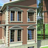 Один дом в двух стилях. В английском стиле: Cлуховое окно ВР-001, Балкон М-013, Окна: Сандрик С-003, М-010 (наличник) М-035 (подоконник), Кронштейн Изд. №40 Русты УП-004, УП-005, арки заказные из М-032. Тот же фасад в стиле хайтек: смотрите предыдущие слайды.