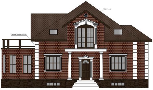 эскиз оформления фасада здания с помощью фасадной лепнины из полиуретана